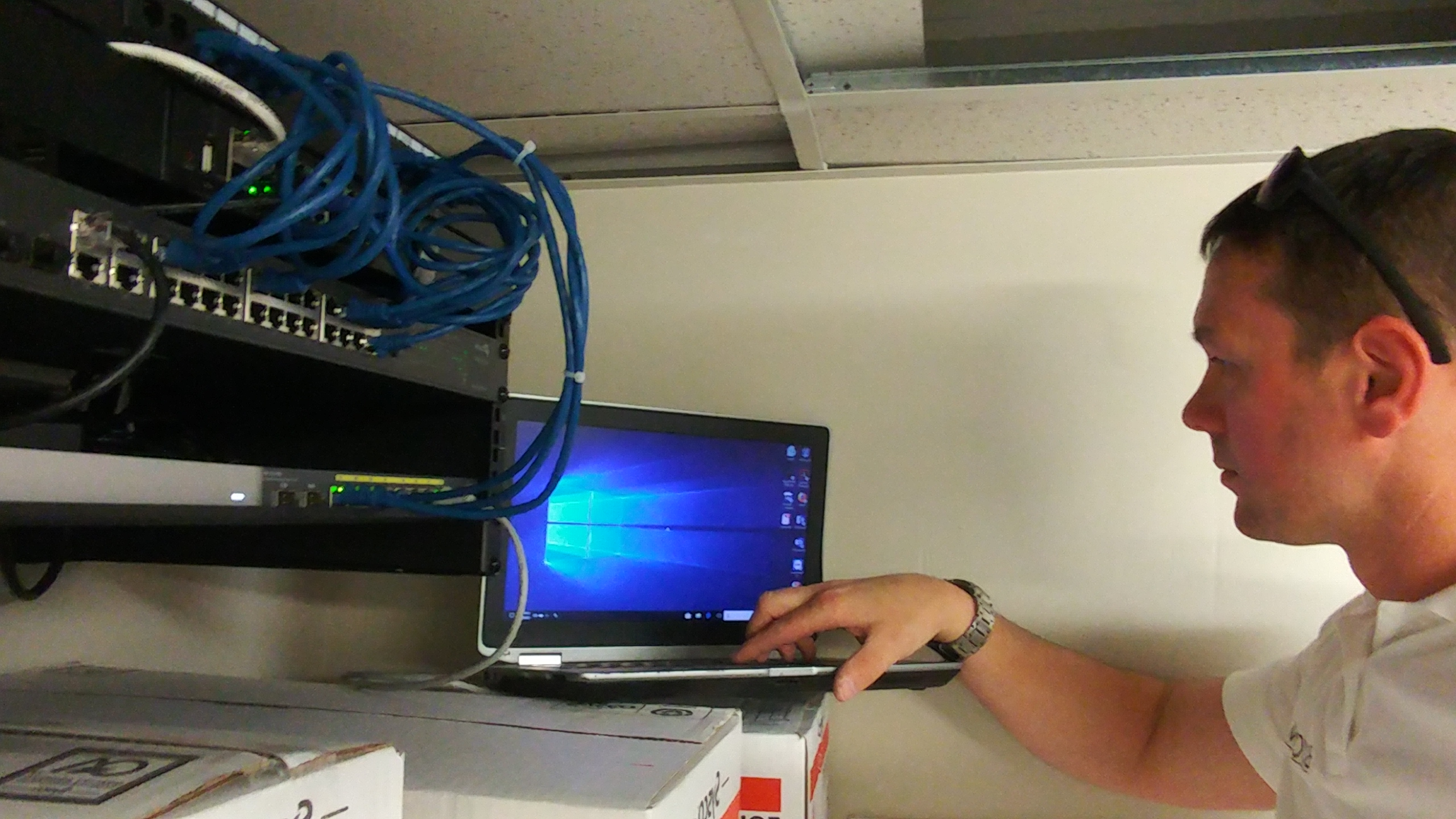 Network cable installation at project Surry Seafood Company